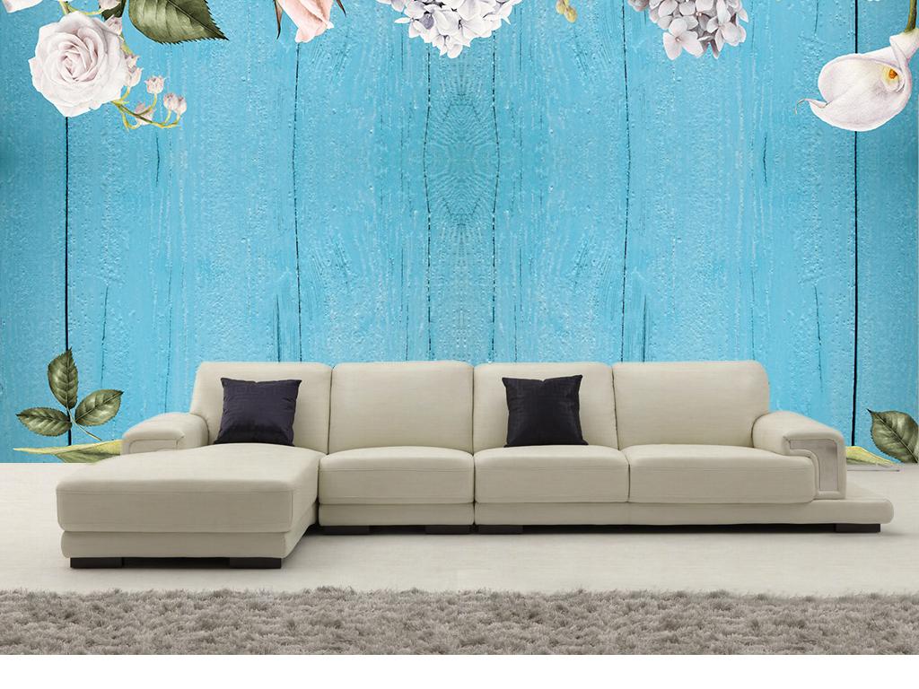 蓝色木板简欧欧式鲜花电视背景墙