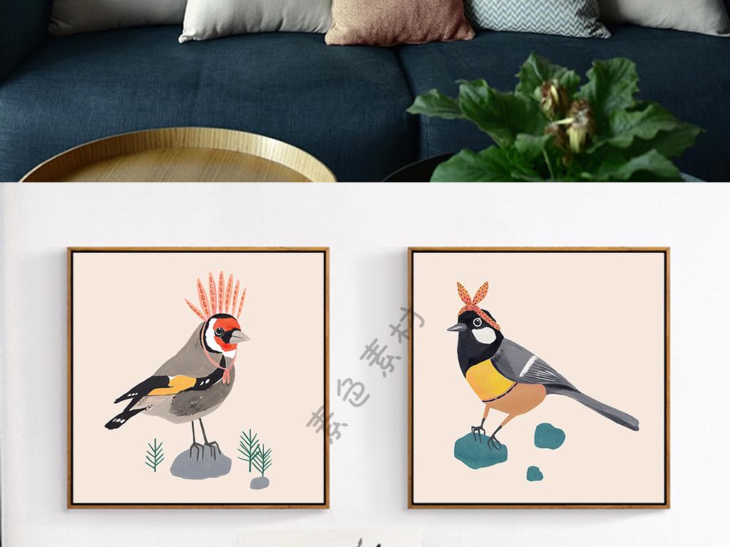抽象爱美鸟现代简约手绘小清新鸟三联装饰画