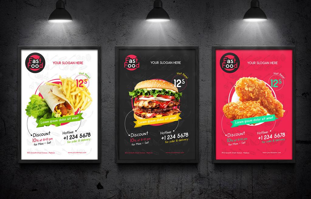 平面|广告设计 海报设计 国外创意海报 > 西式快餐汉堡宣传海报psd图片
