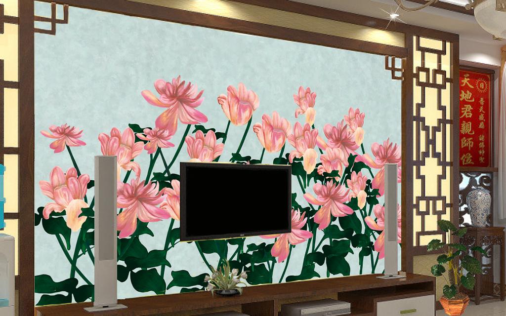 清新手绘花卉电视背景墙