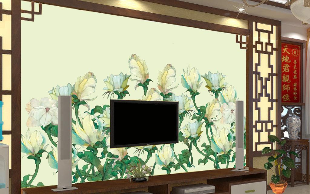 清新手绘花卉个性电视背景墙