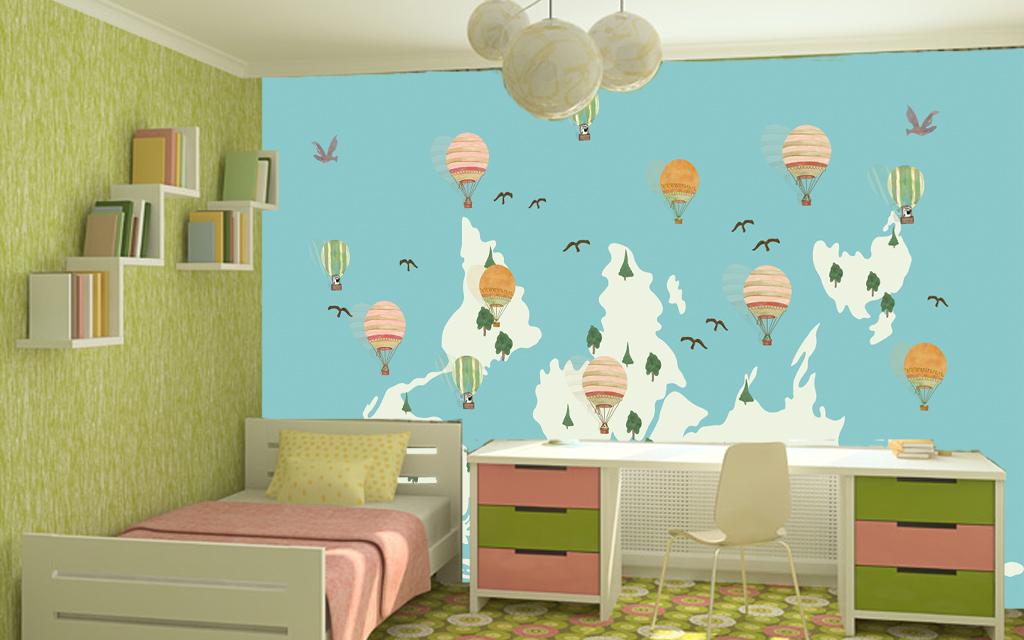 手绘世界地图儿童房创意背景墙