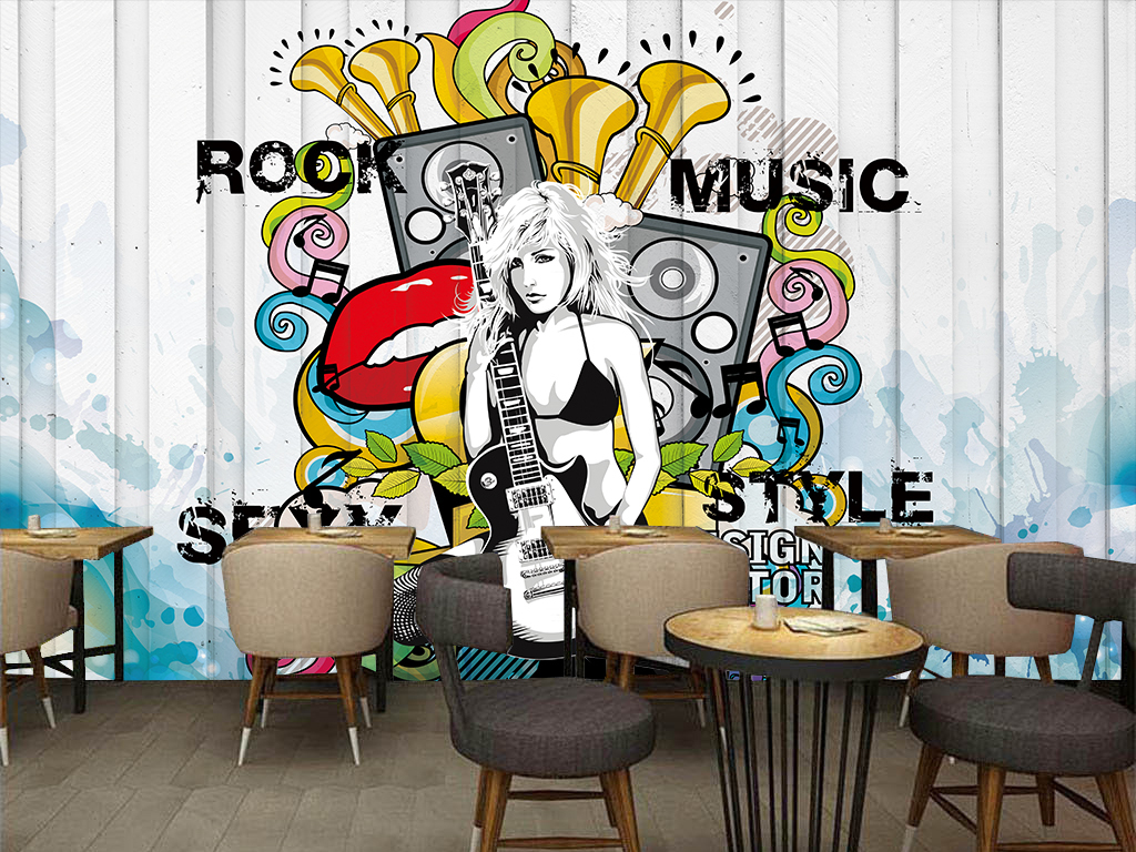 餐厅咖啡厅手绘欧美木板音乐立体音乐摇滚嘻哈美女手绘