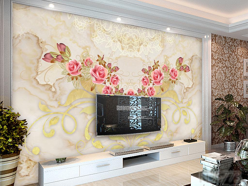 边框壁画墙画壁纸墙砖瓷砖蝴蝶卷草电视背景墙壁画欧
