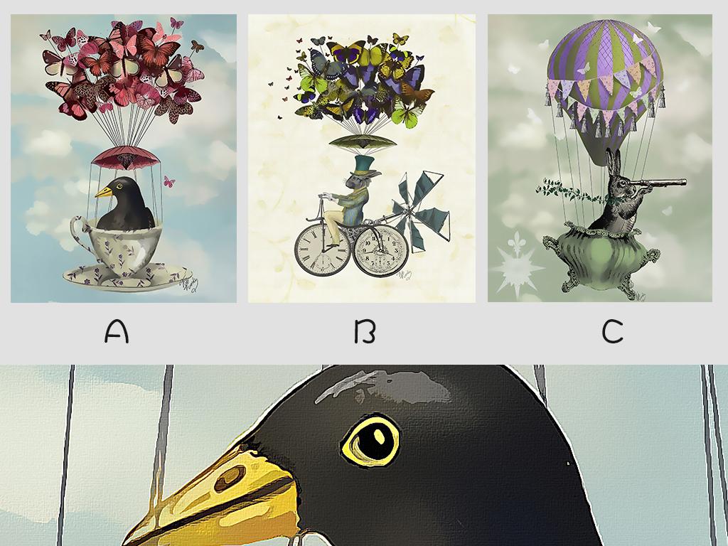 墙蛙嘻游记现代简约小清新动物三联装饰画