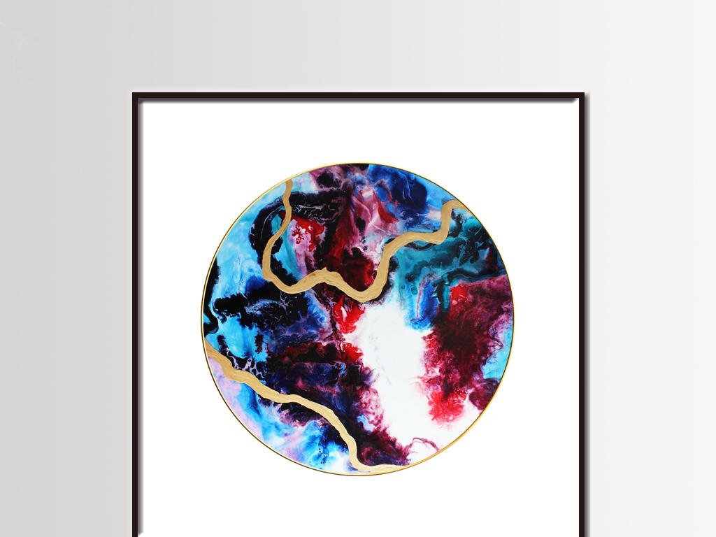 高清绚丽圆形抽象金色线条妖娆红蓝色装饰画