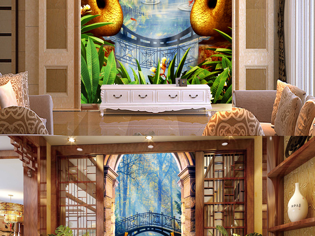 花边欧式建筑雕塑拱桥森林装饰画装饰画森林天鹅装饰