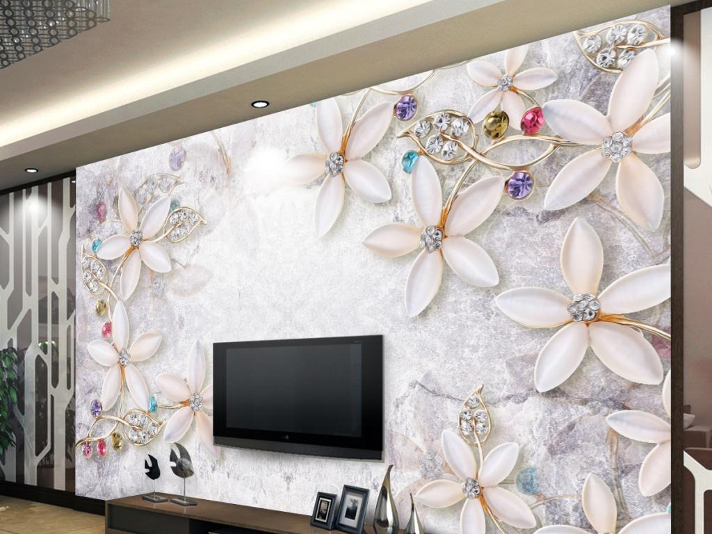 欧式花纹家和富贵3d背景墙大理石玄关背景墙手绘花鸟