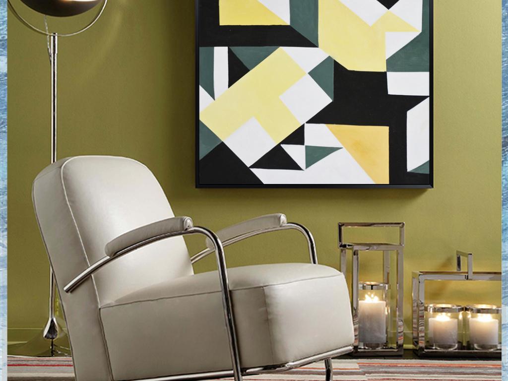 几何抽象纯手绘高清装饰油画