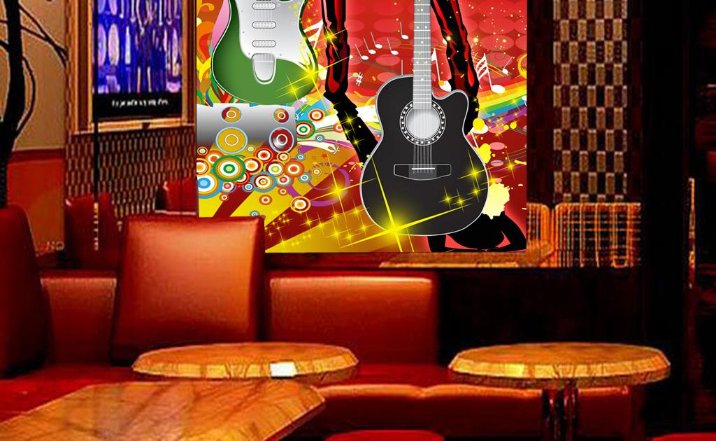炫彩手绘美女吉他舞厅夜店工装玄关