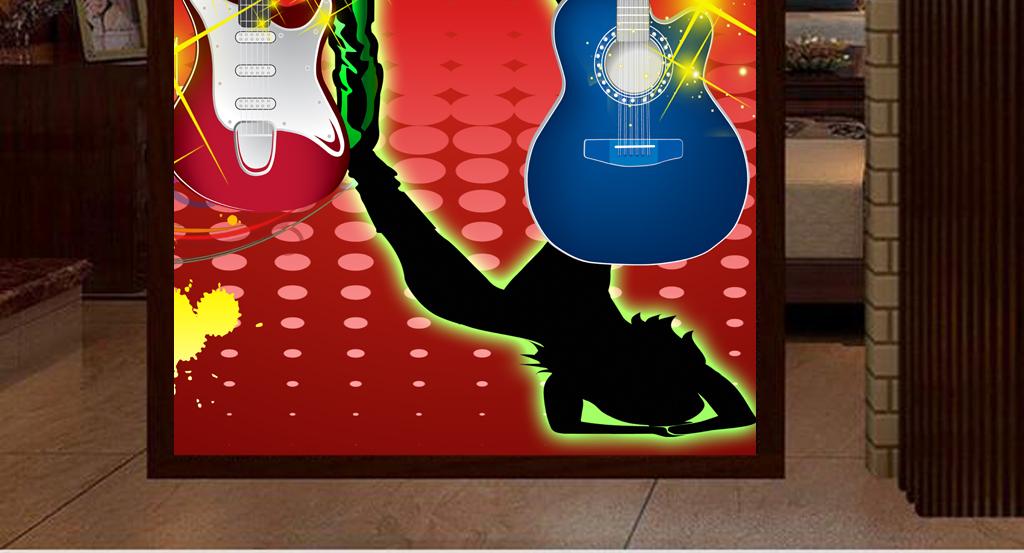 舞厅酒吧夜店ktv手绘美女吉他工装玄关