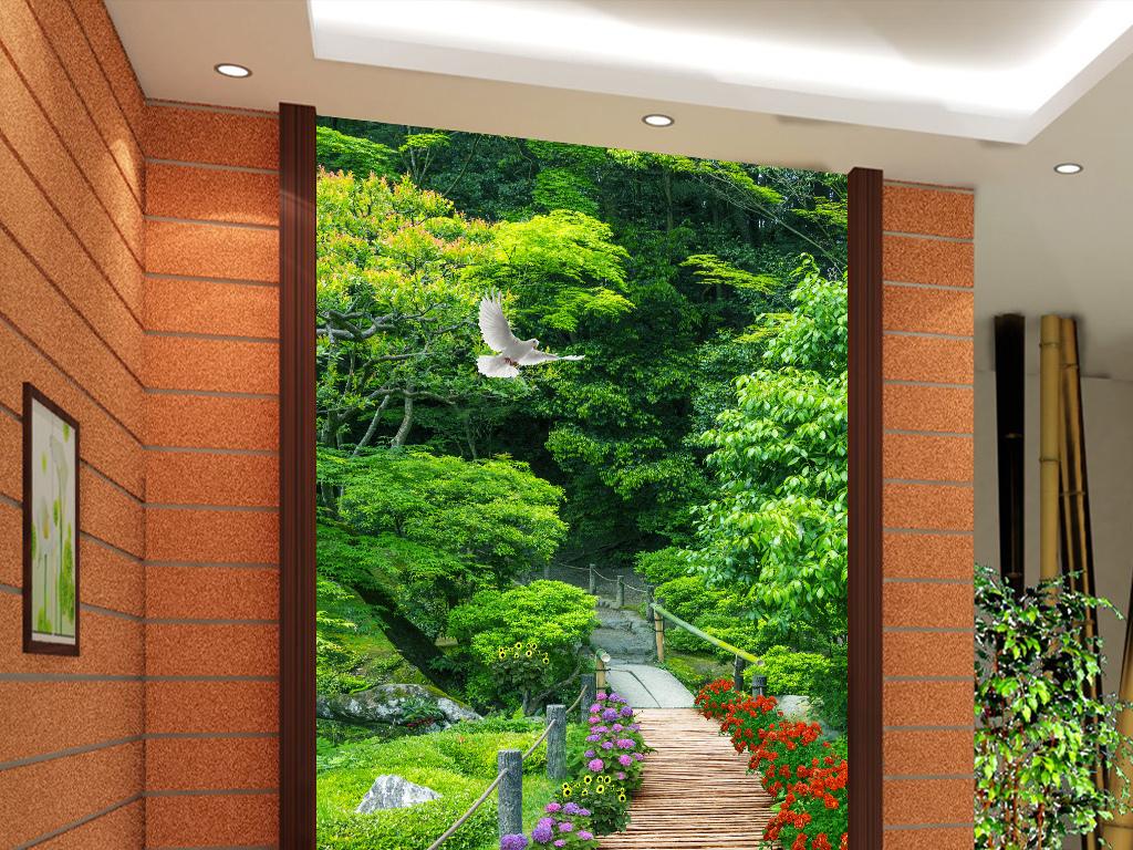 公园木板小路玄关背景墙背景画