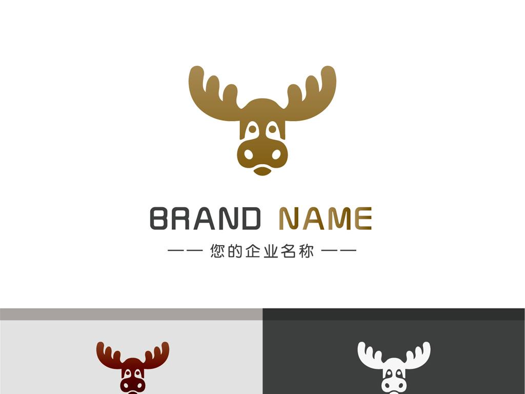 手绘麋鹿鹿角logo梅花鹿可爱童装标志