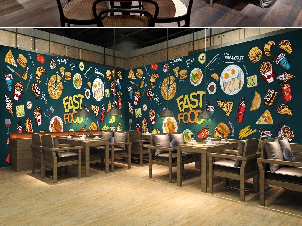大型手绘高清西餐披萨汉堡食物涂鸦工装背景