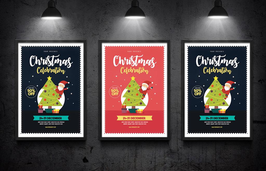 简约可爱圣诞节促销活动海报psd模板
