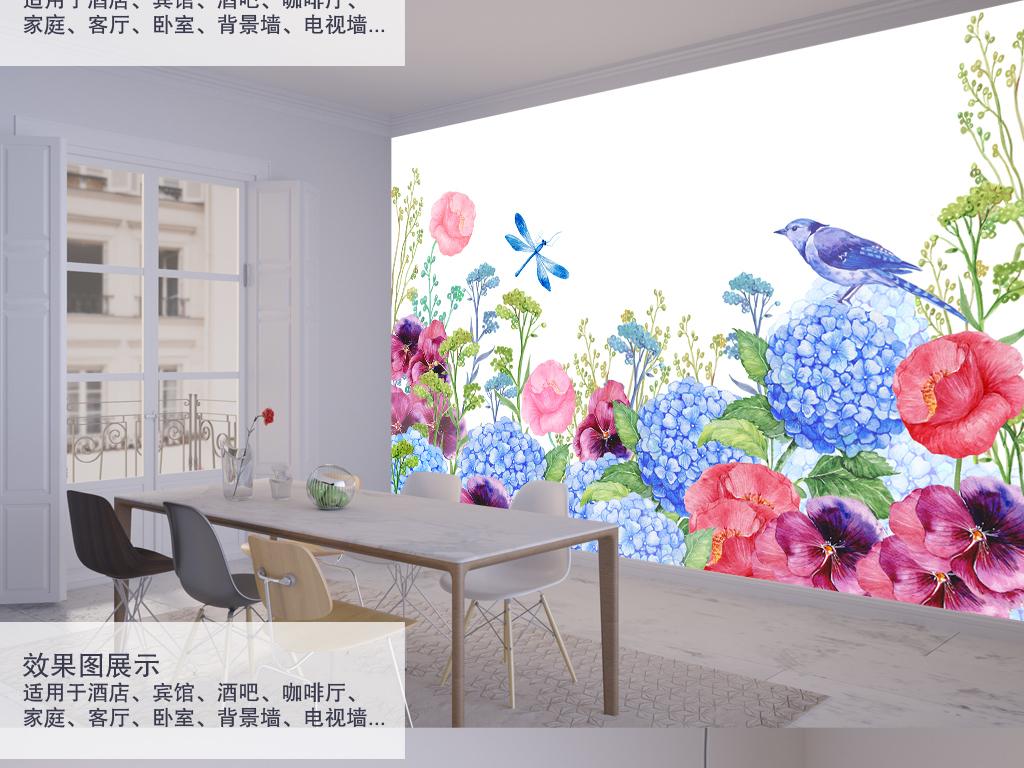 北欧清新花鸟手绘背景墙装饰画