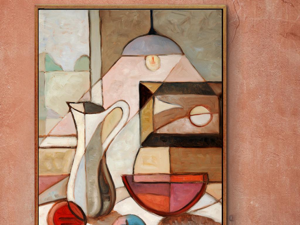 抽象油画静物水果装饰画