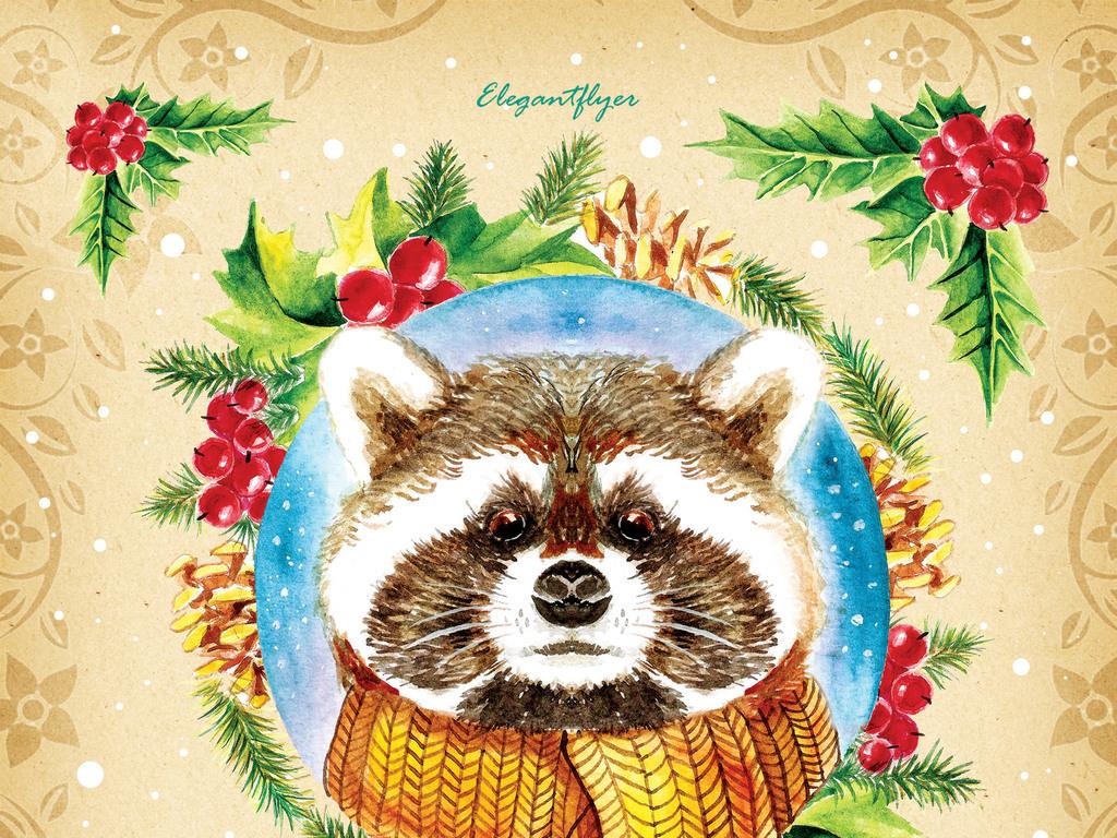 欧式复古松鼠圣诞节派对海报psd模板
