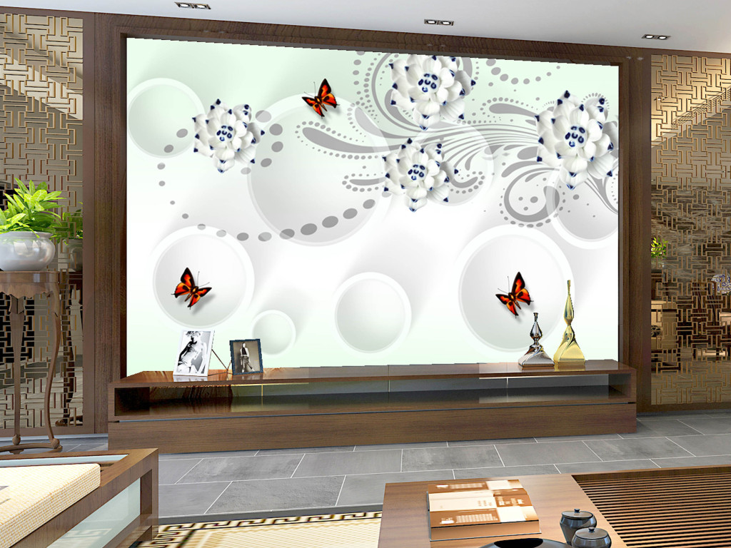 3d立体玉雕花朵背景墙素材(图片编号:15857099)_客厅