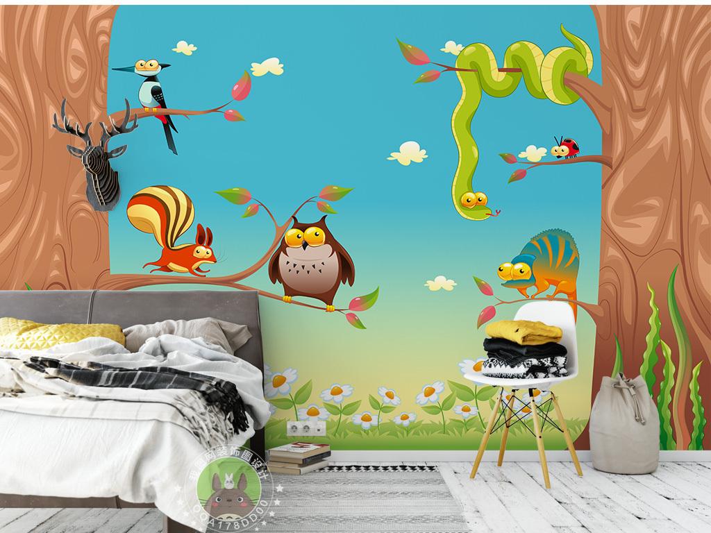 动物园小鸟猫头鹰卡通背景卡通大树背景墙壁画儿童房