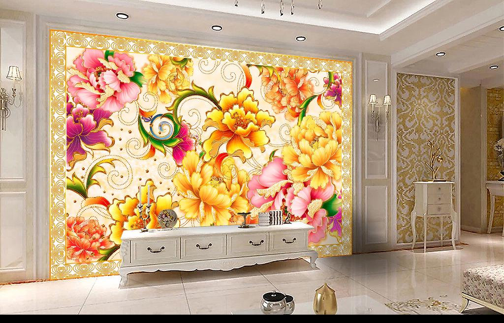 牡丹花欧式花纹电视背景墙