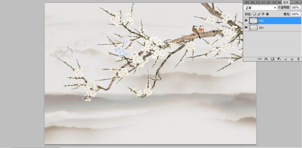 国画梅花手绘花鸟 位图, rgb格式高清大图,使用软件为 photoshop cs3