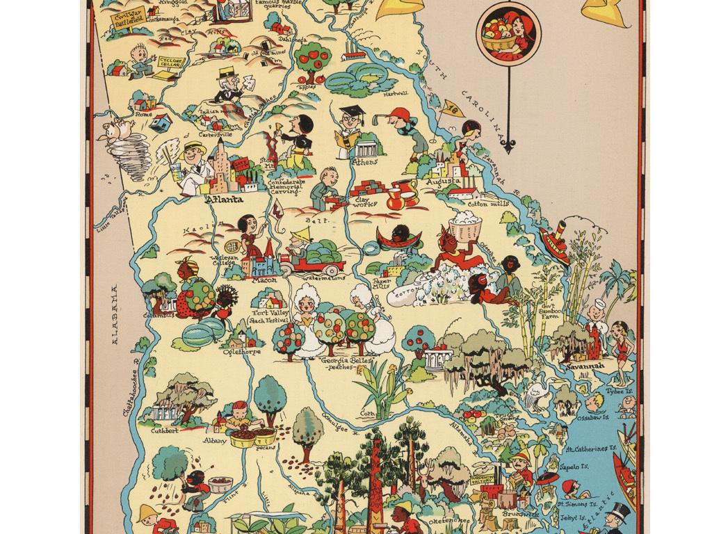 古典手绘美国乔治亚州地图装饰画素材