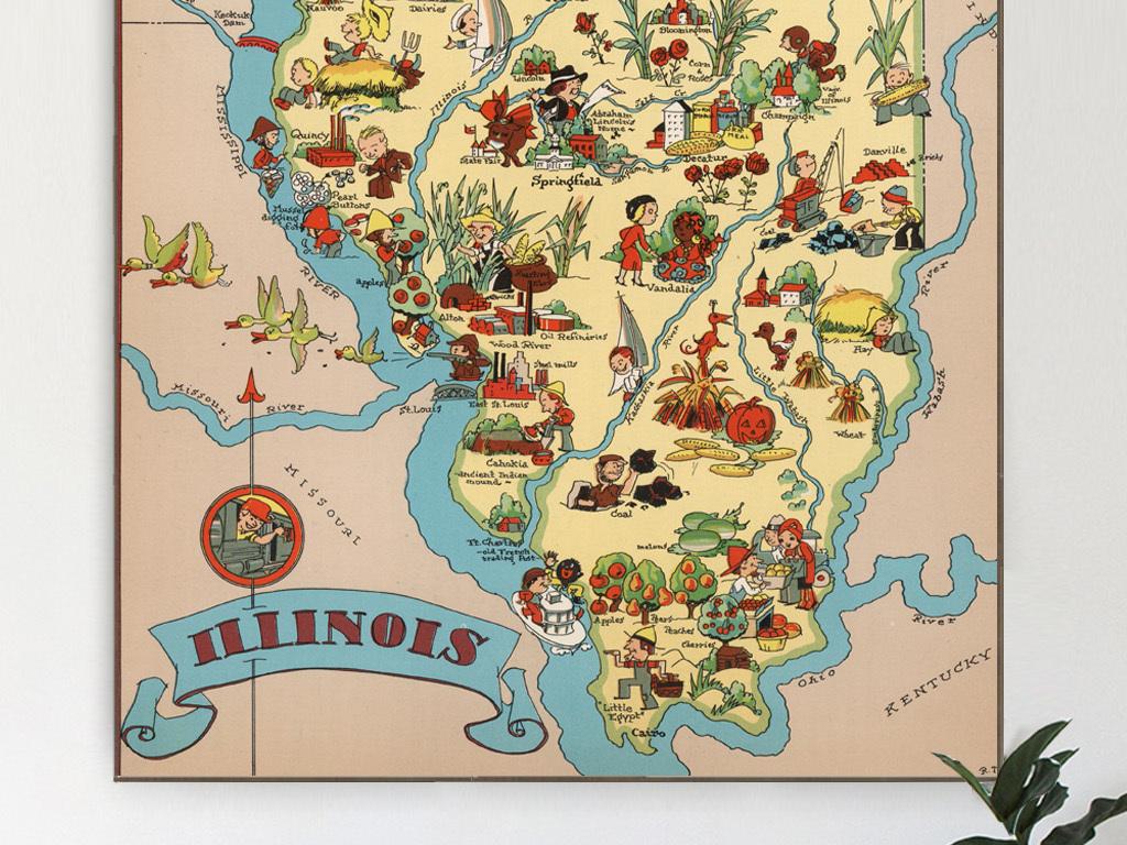 手绘地图美国高清地图地图                                  壁画高