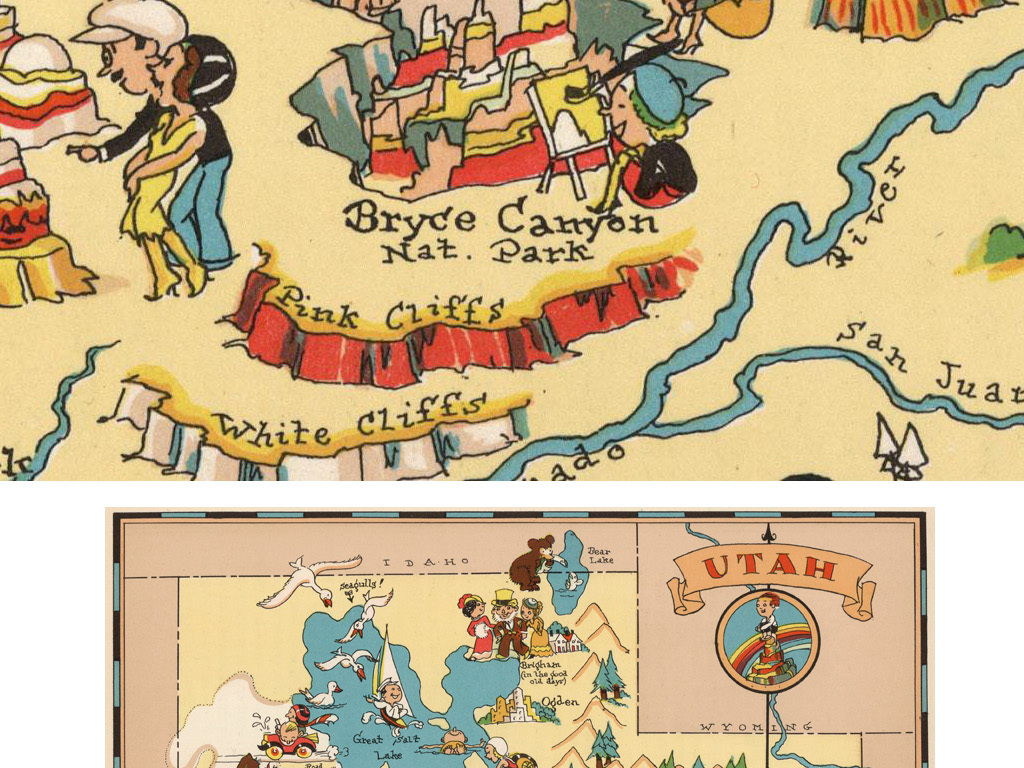 美国版犹他州地图装饰画素材