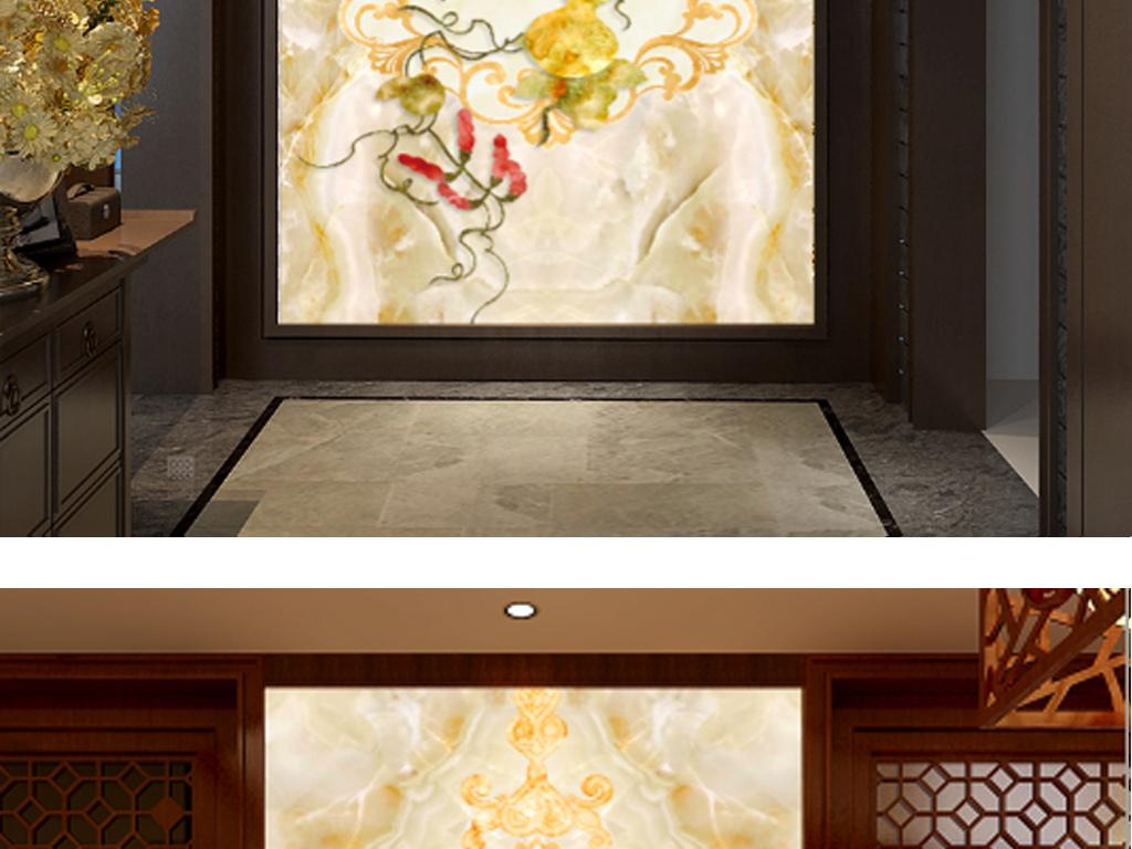 福如东海手绘花朵3d电视沙发背景墙壁画