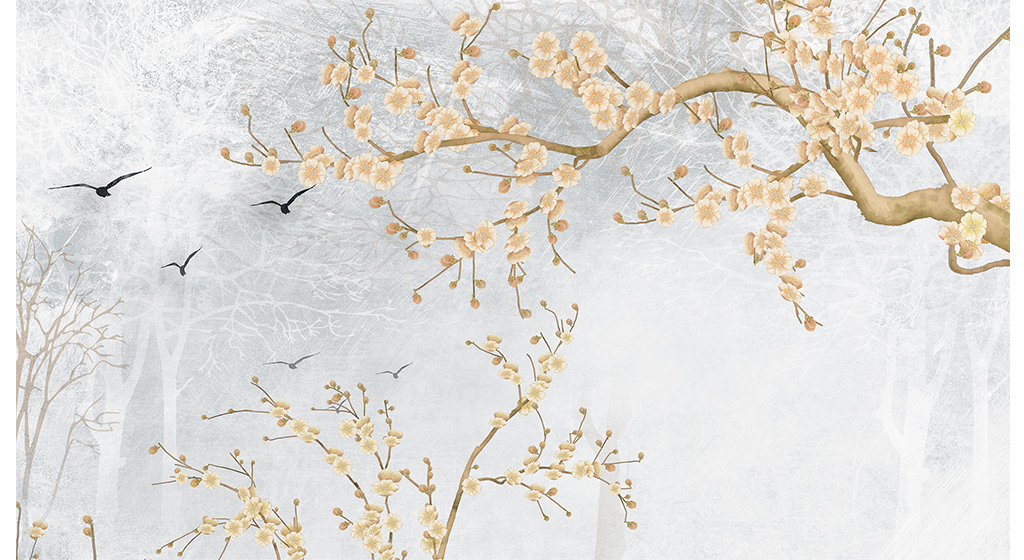 中国风抽象树枝抽象背景墙手绘