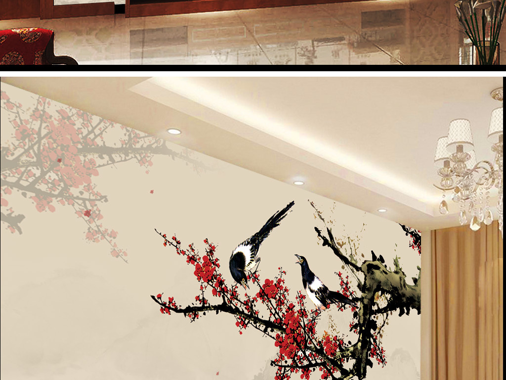 手绘梅花背景墙