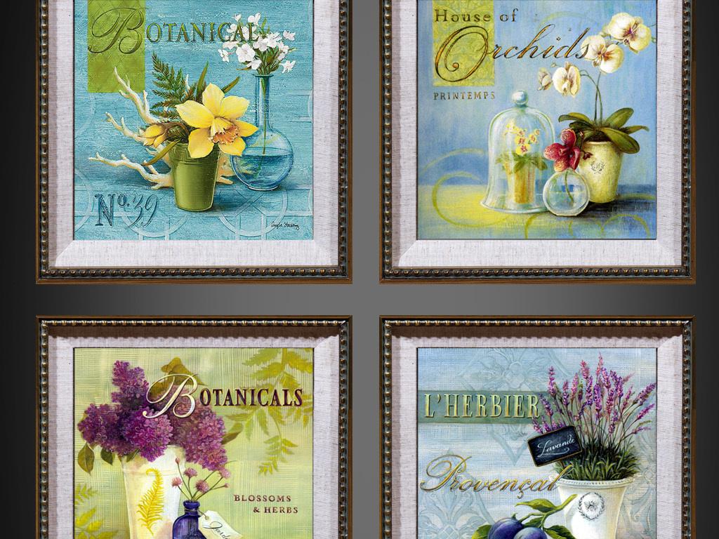 地中海无框画欧式风格复古花卉装饰画