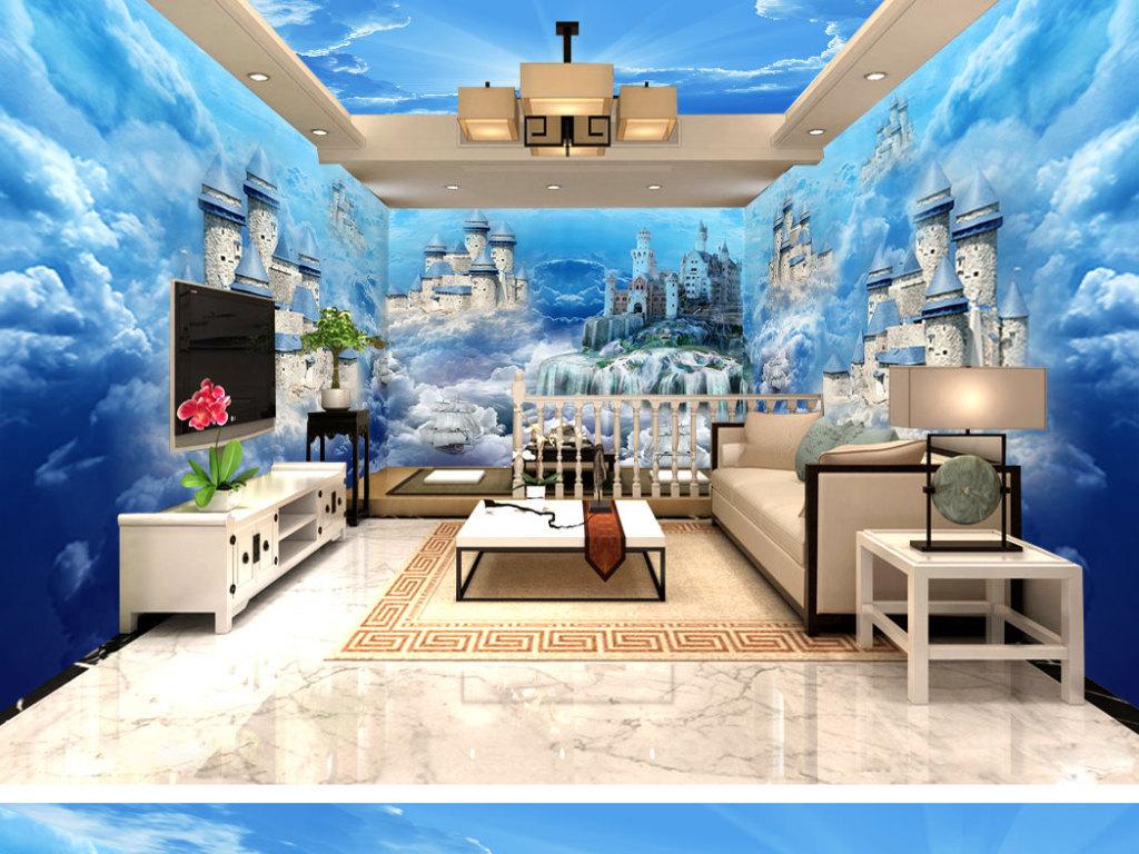 背景墙|装饰画 全屋背景墙 全屋背景墙 > 天空之城3d主题空间背景墙图片