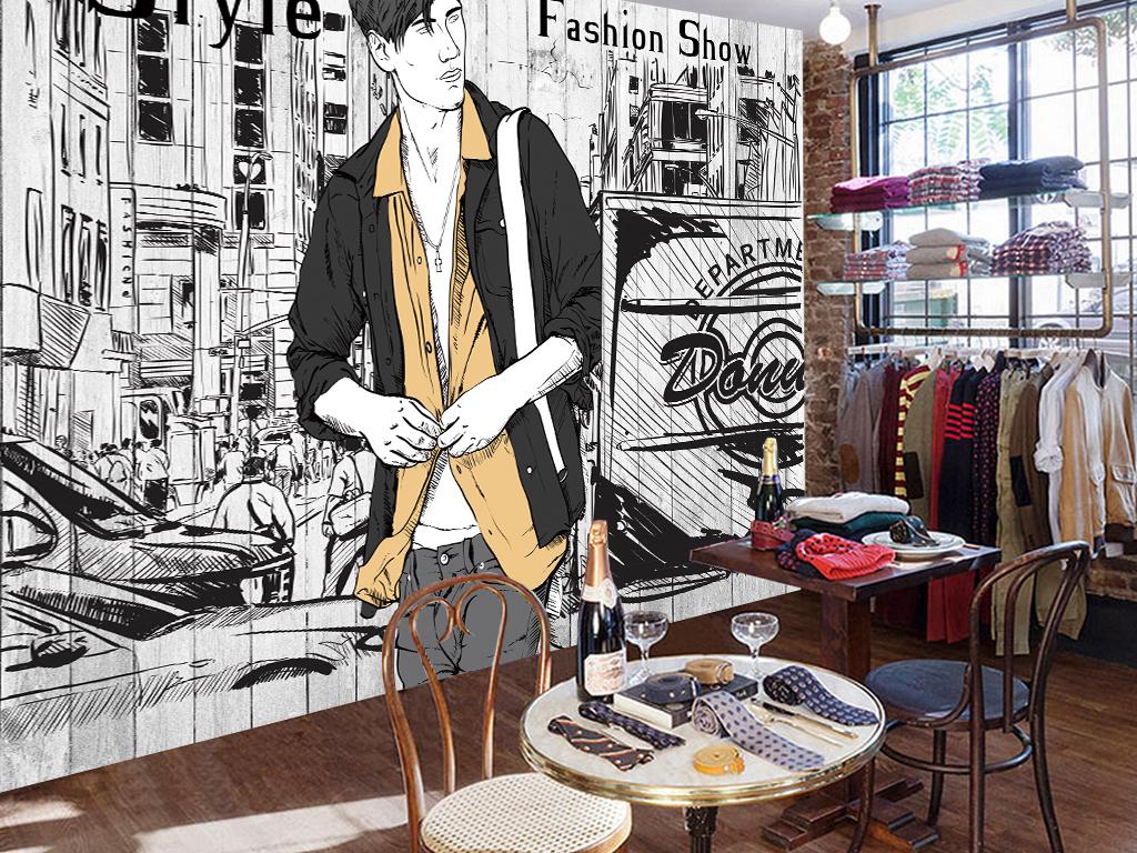 欧式风格服装店背景墙