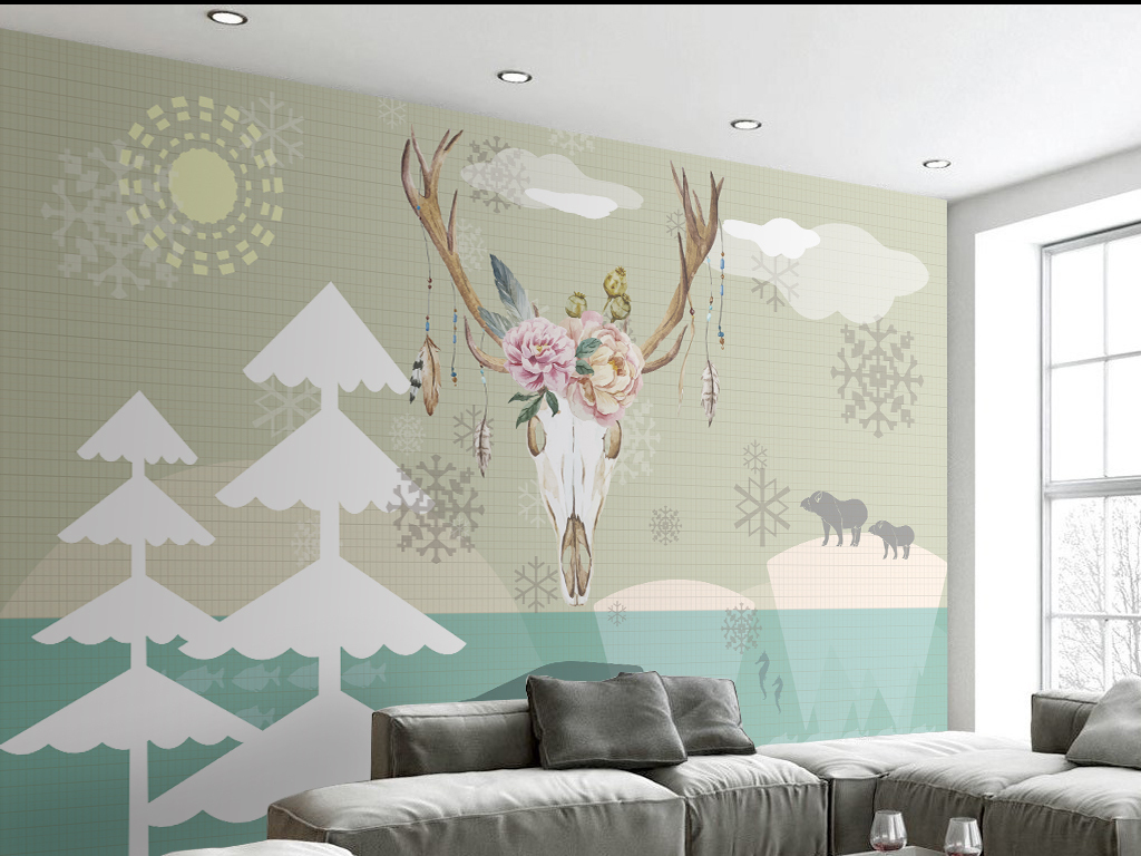 简约手绘北欧风格麋鹿背景墙