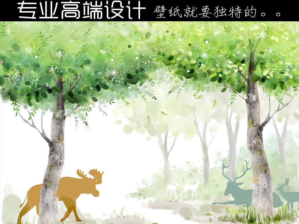 psd独家高清手绘森林麋鹿背景墙壁画壁纸