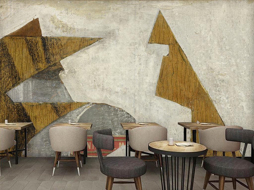 欧式复古水泥墙葡萄酒酒吧装饰背景墙
