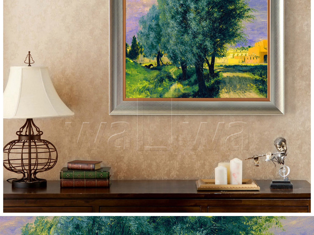 手绘油画森林树木天空挂画
