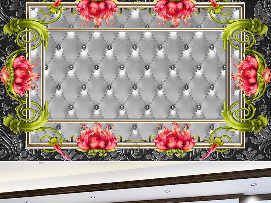 我图网提供精品流行欧式边框花卉软包背景墙素材下载