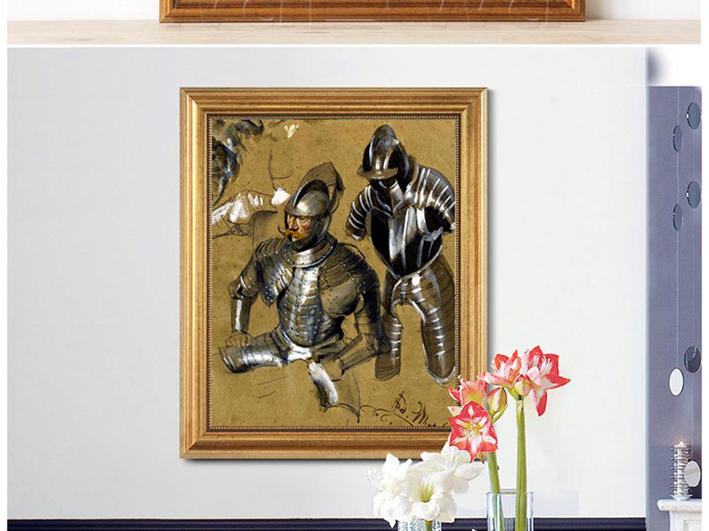 高清手绘欧式古典写实风格威严骑士油画