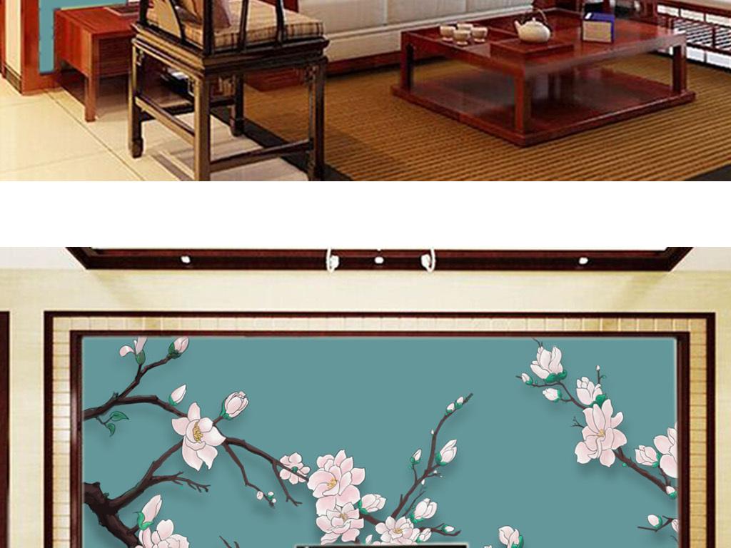 中式手绘玉兰花室内背景墙壁画