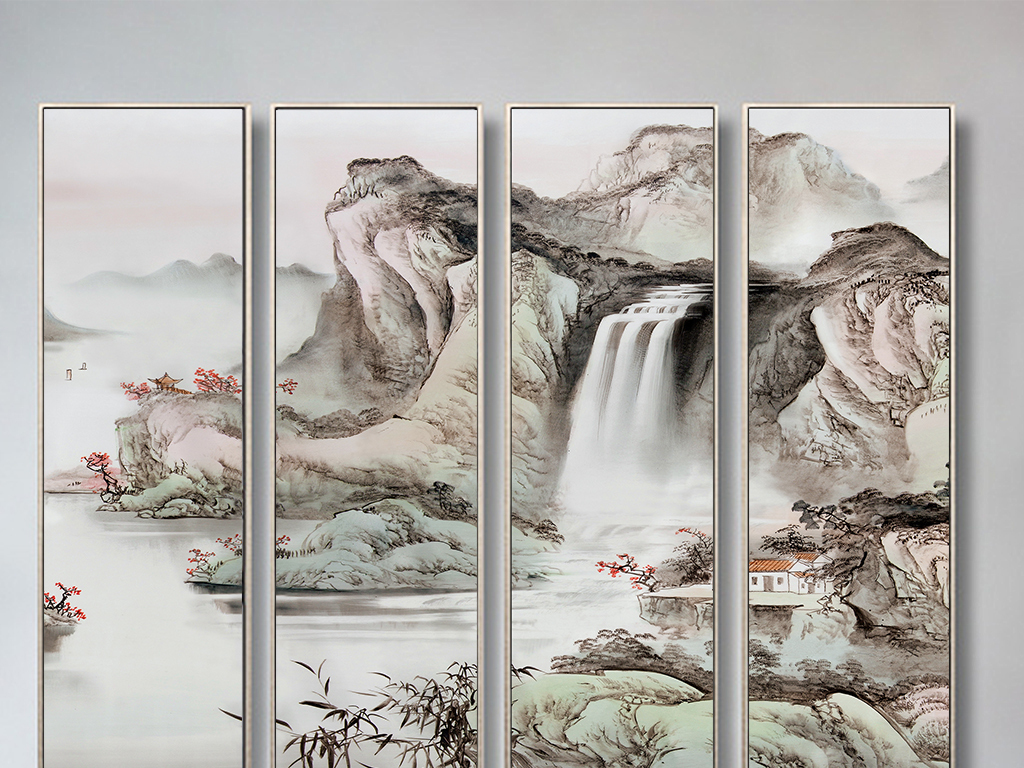 中式意境四联山水国画(高清)