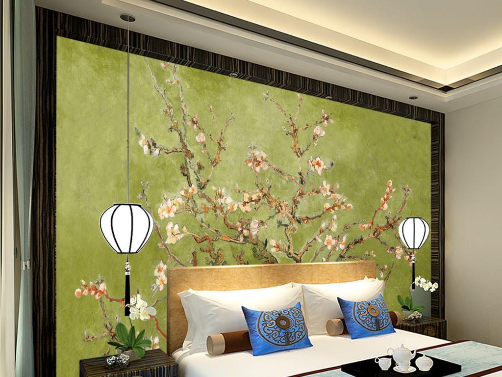 复古中国风手绘国画梅花工笔梅花背景墙油画