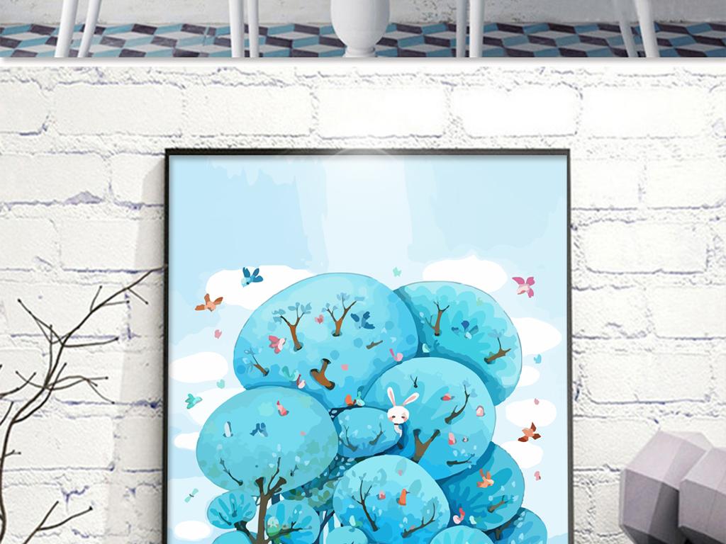 蓝色水彩手绘卡通树林无框画
