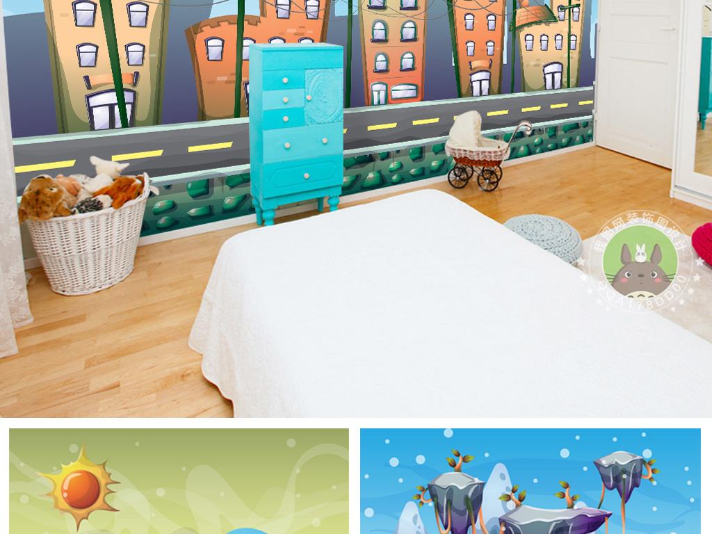 25款手绘卡通儿童房背景墙装饰画