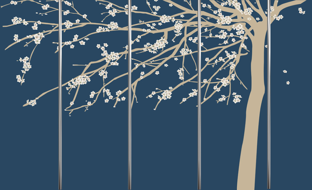 3d手绘大树背景墙