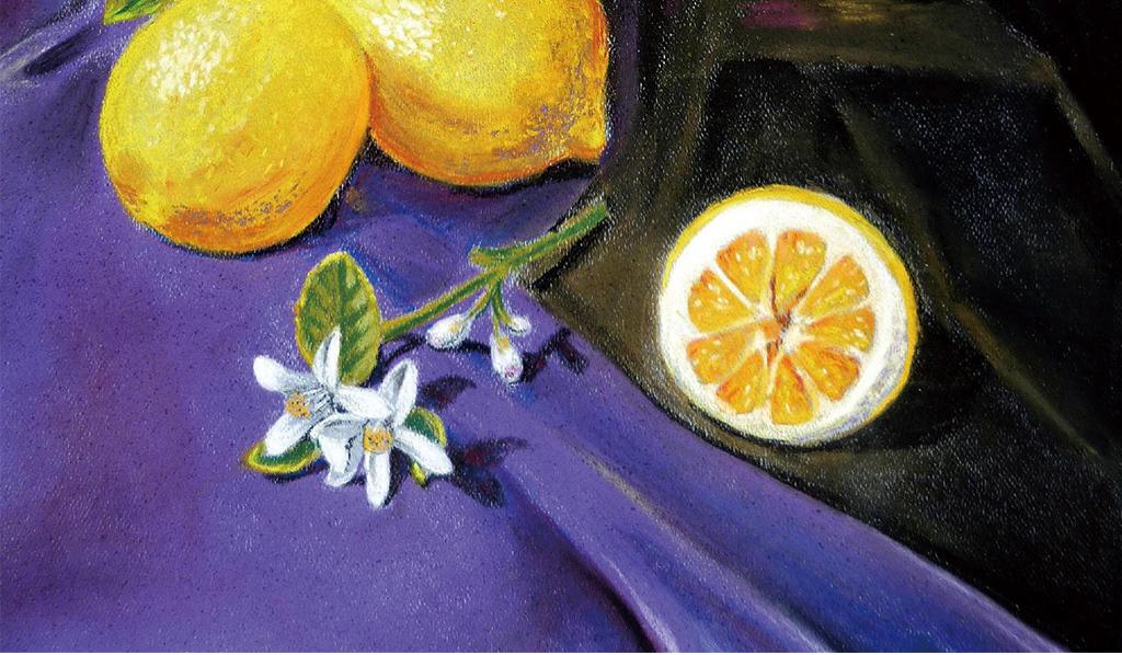 小清新柠檬油画玄关背景墙