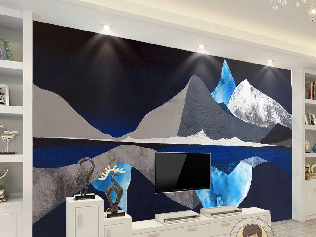 北欧手绘创意山峰倒影简约电视背景墙