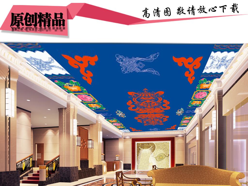 背景墙|装饰画 吊顶|天顶壁画 中式吊顶 > 藏式花纹金顶寺庙天顶画图片